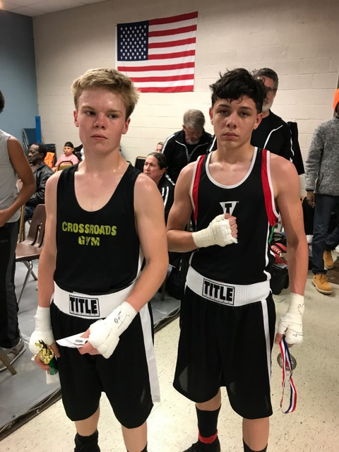 Russell Griffith with his opponent after a hard fought battle in Baltimore.