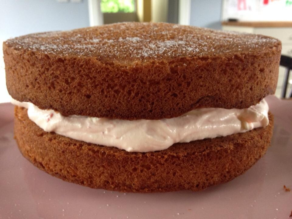 Victoria sponge with homemade strawberry jam & whipped cream