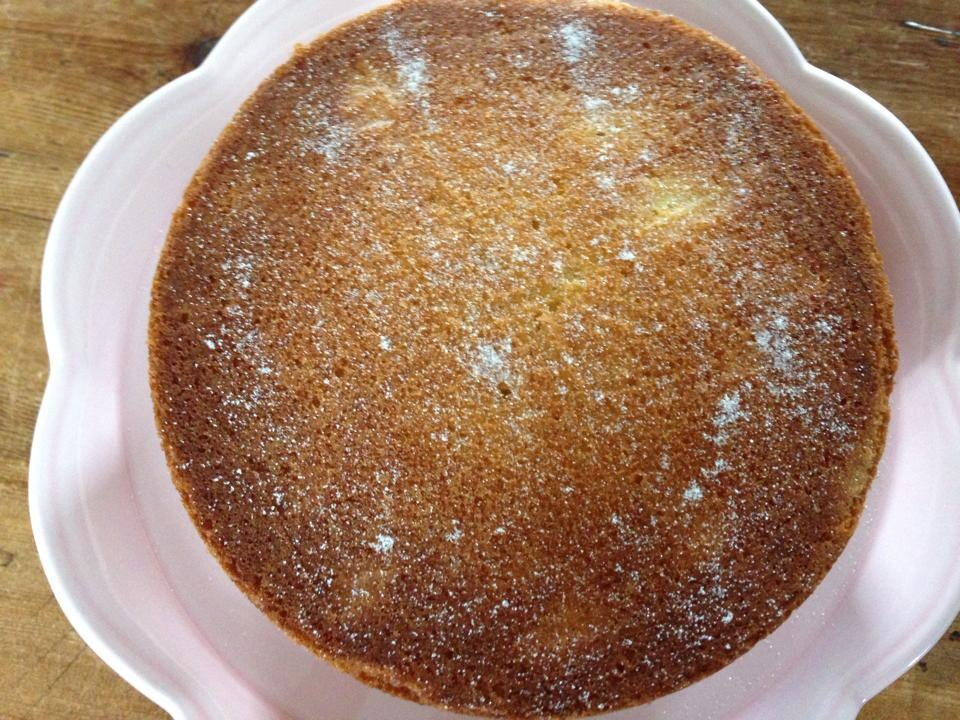 Victoria sponge sprinkled with caster sugar