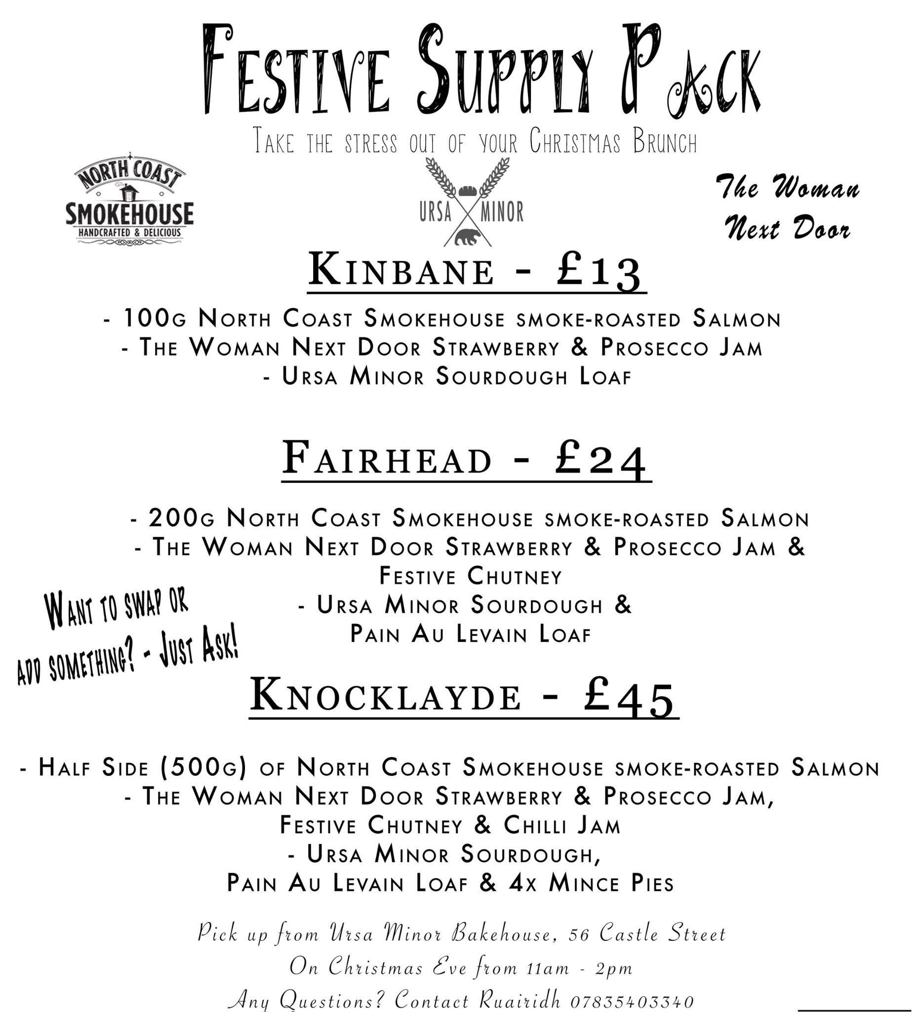 Flyer for Festive Supply Packs.