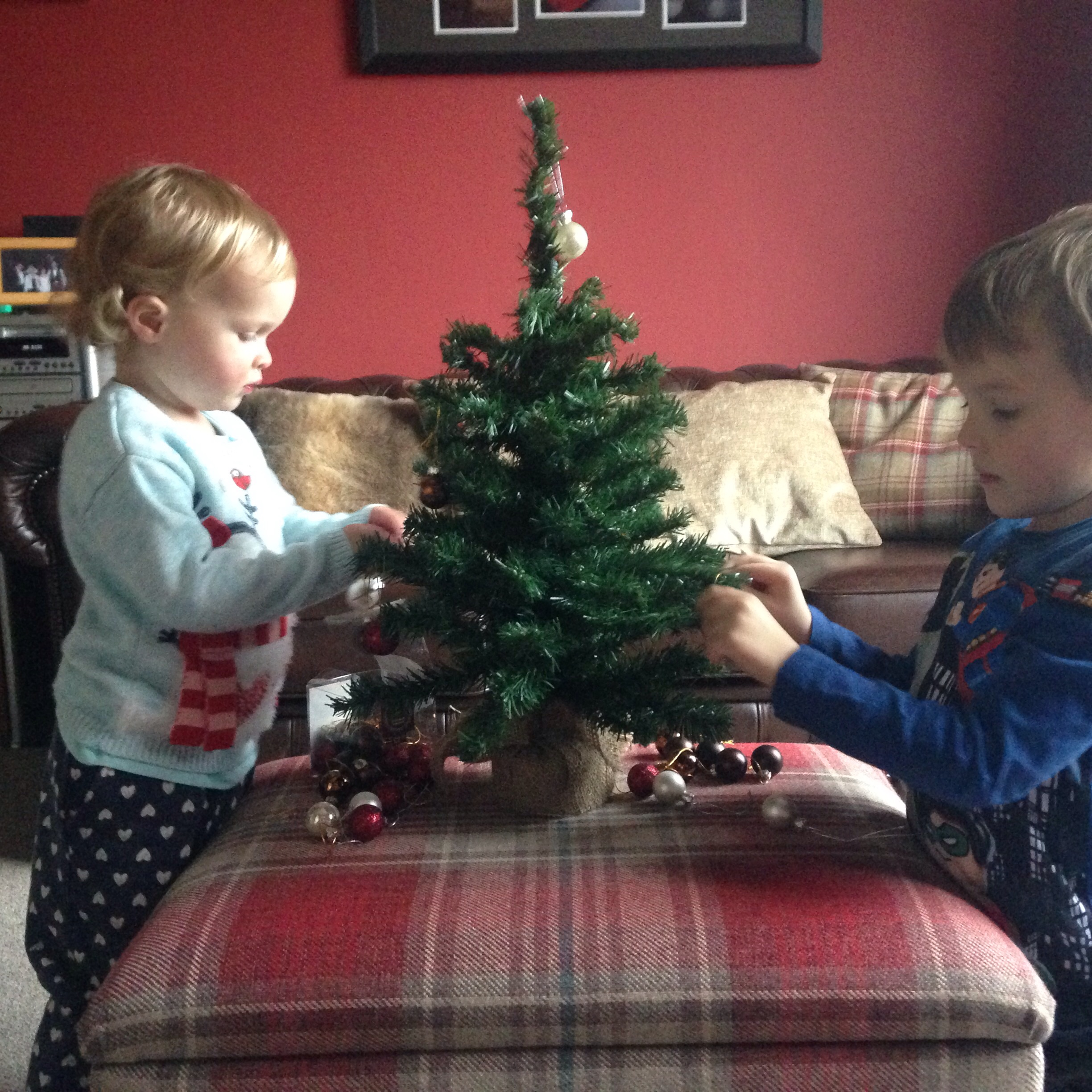 A mini tree that they're allowed to play with to keep them from playing with the real one!