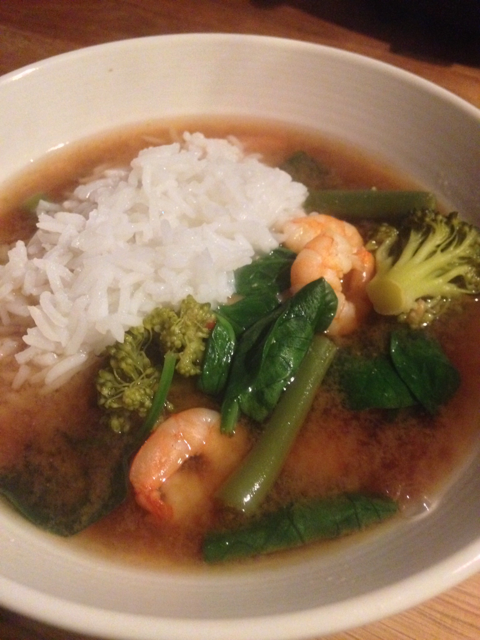 Asian-style broth with rice.