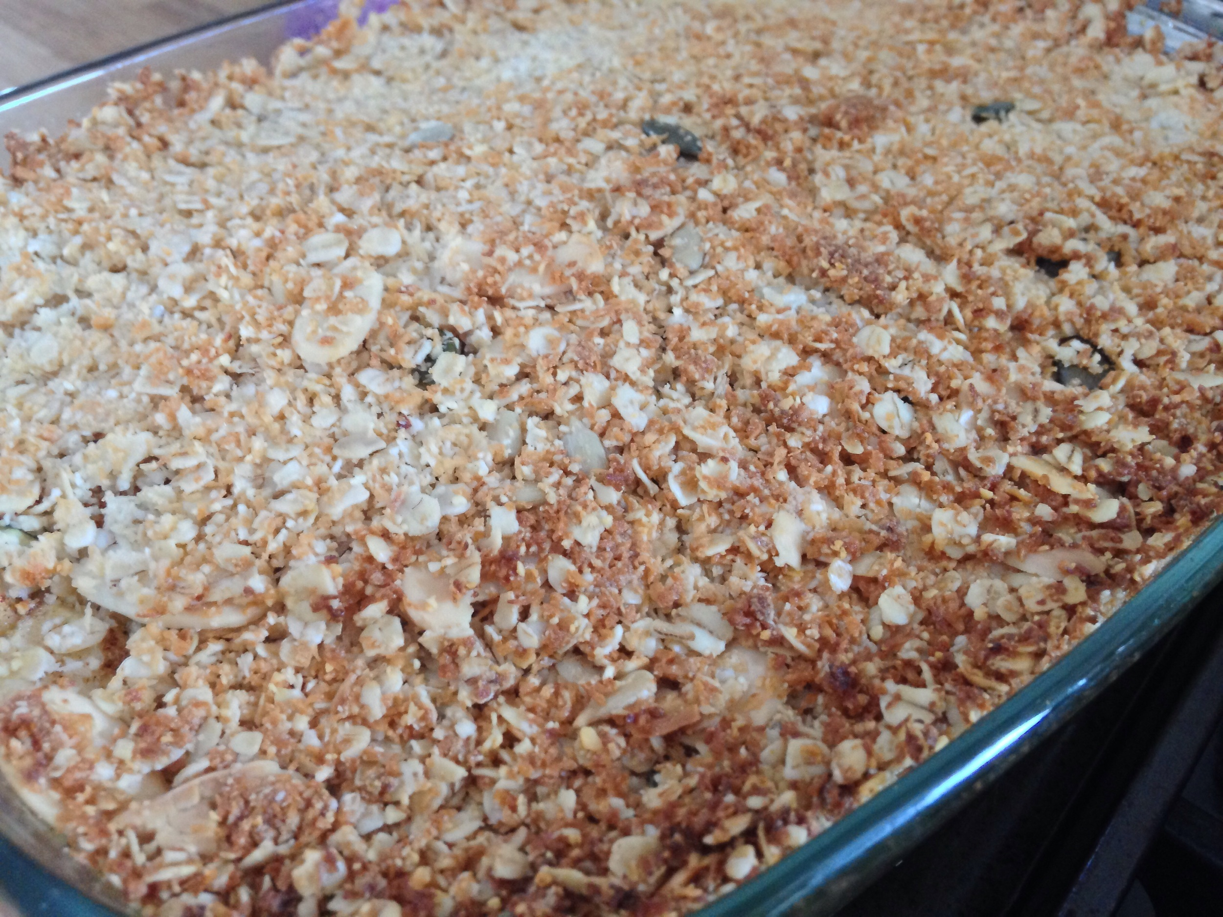 Angelic pear crumble straight out of the oven.