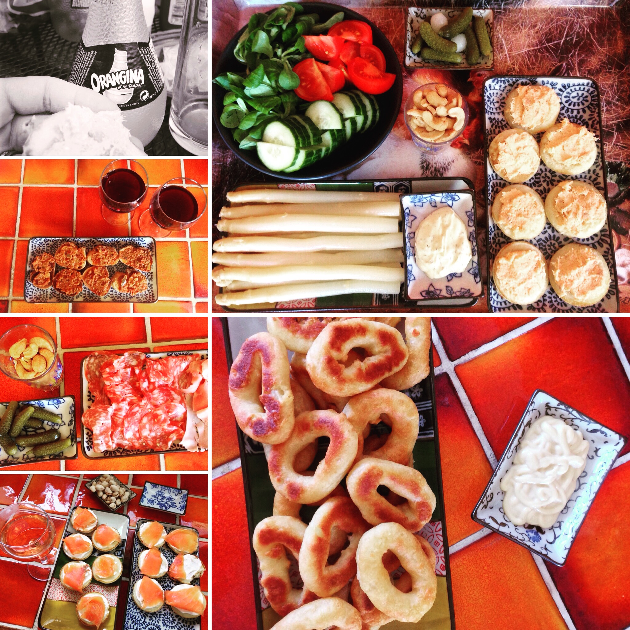 Some simple homemade apero dishes.