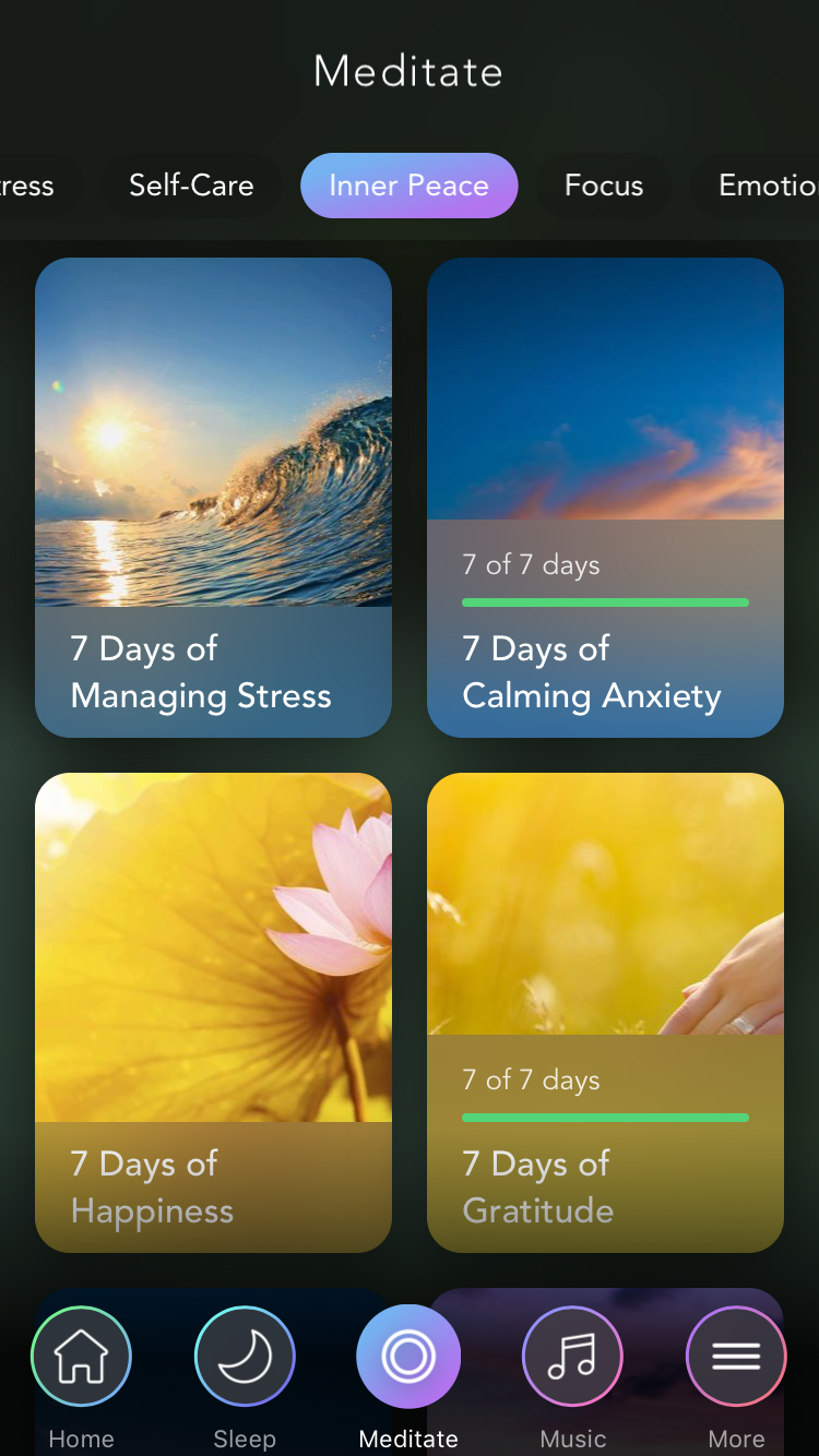 Meditate tab of the Calm app.