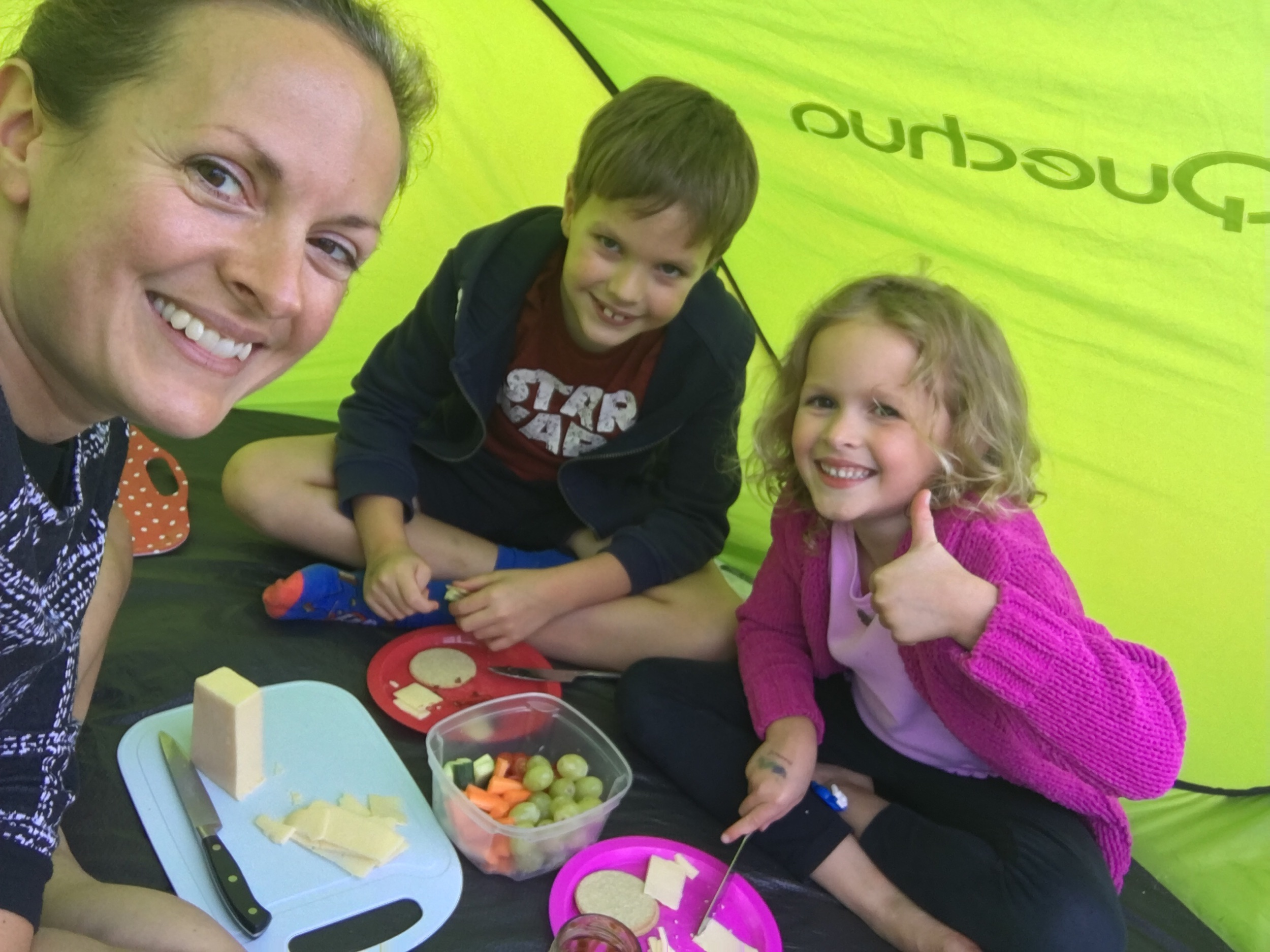 Cheese & oatcakes in the pop-up tent.