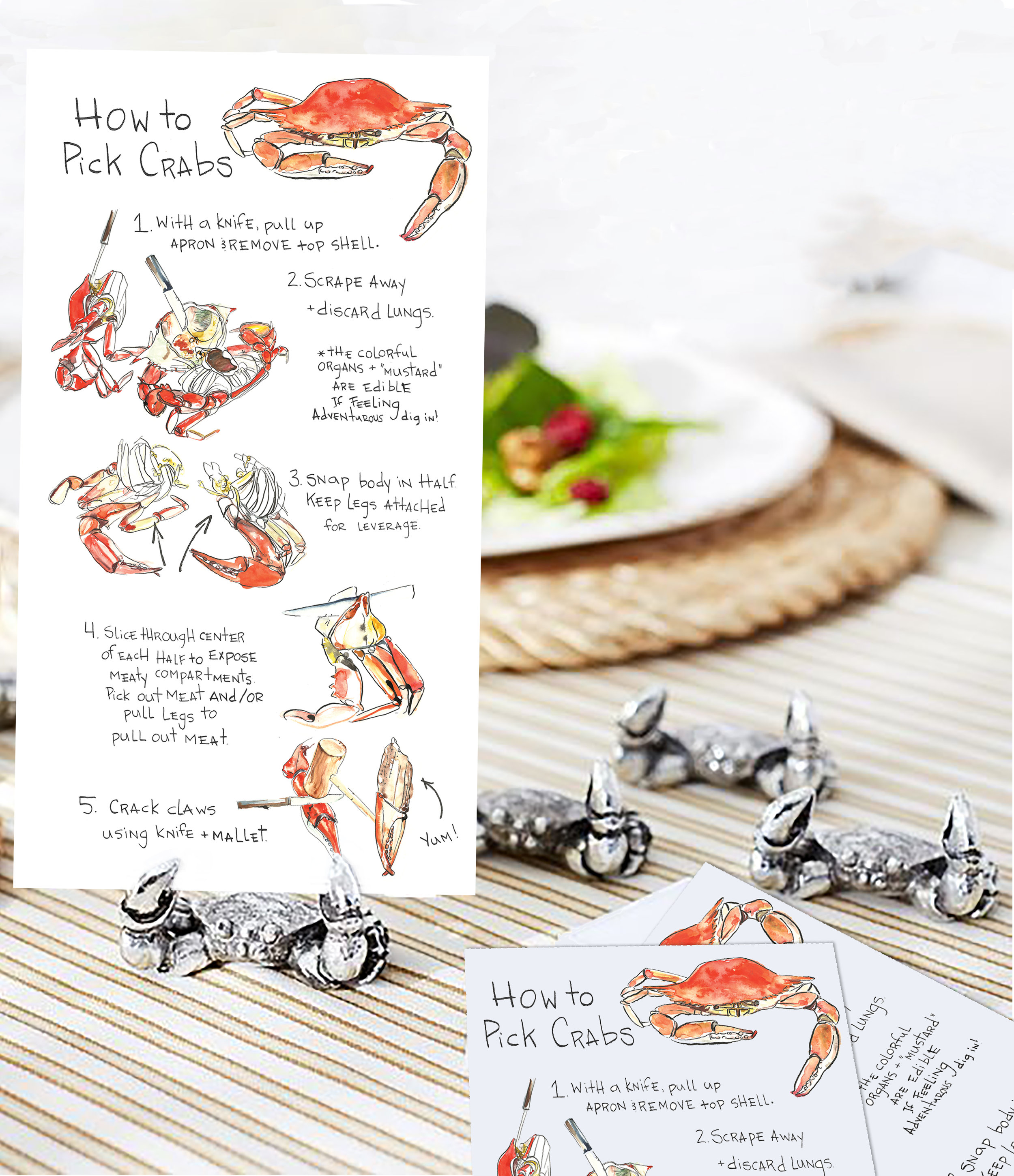 Found these adorable pewter crab place card holders by Pottery Barn over on Pinterest. Perfect match!