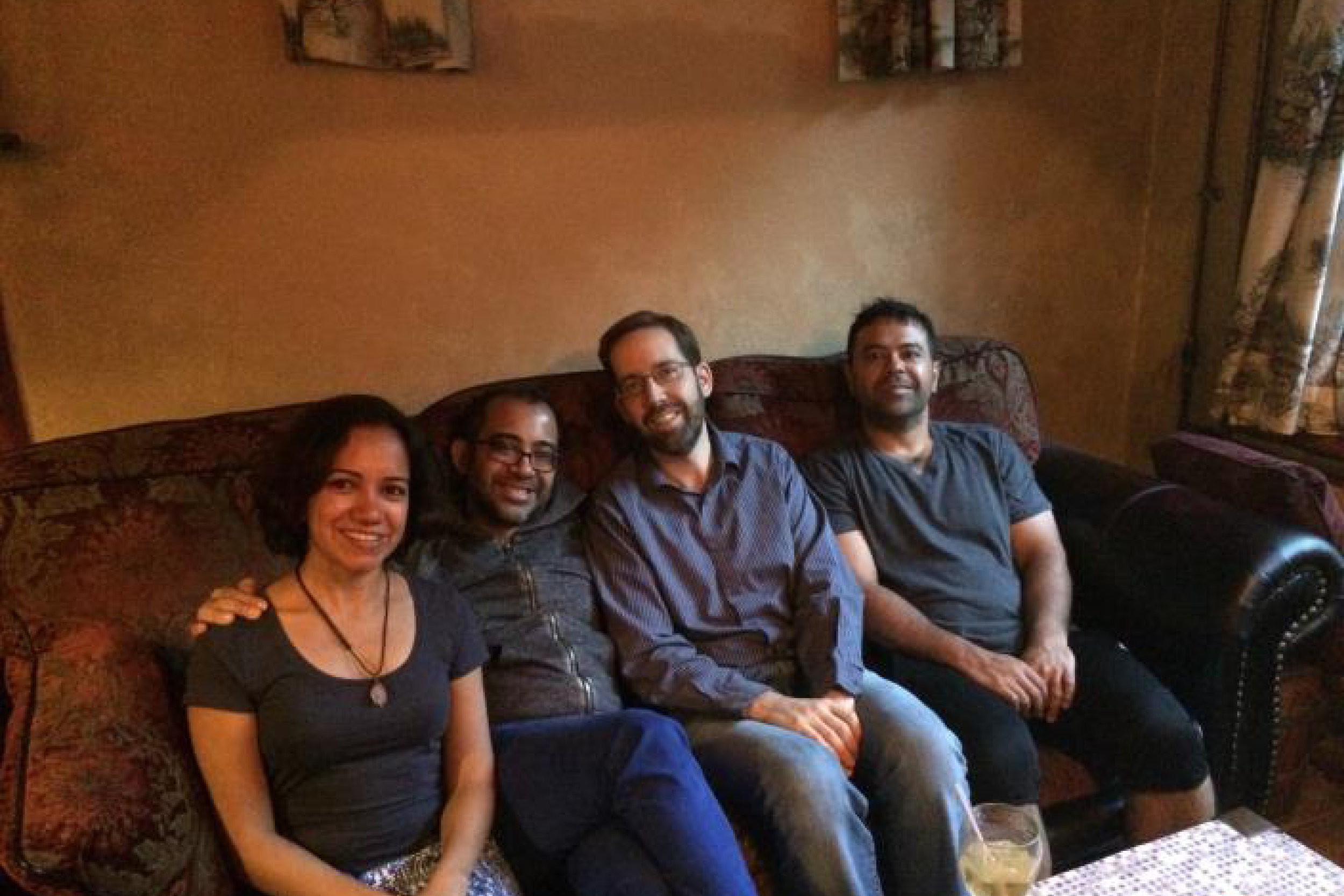 Upal and Chris with their roommates – their friends Lalitha and Upal's brother Ujjal.