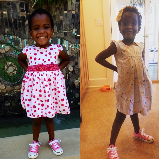 JANUARY 2015 & AUGUST 2015  Although she's still rocking the same pink sneakers, we've gone up two shoe sizes!