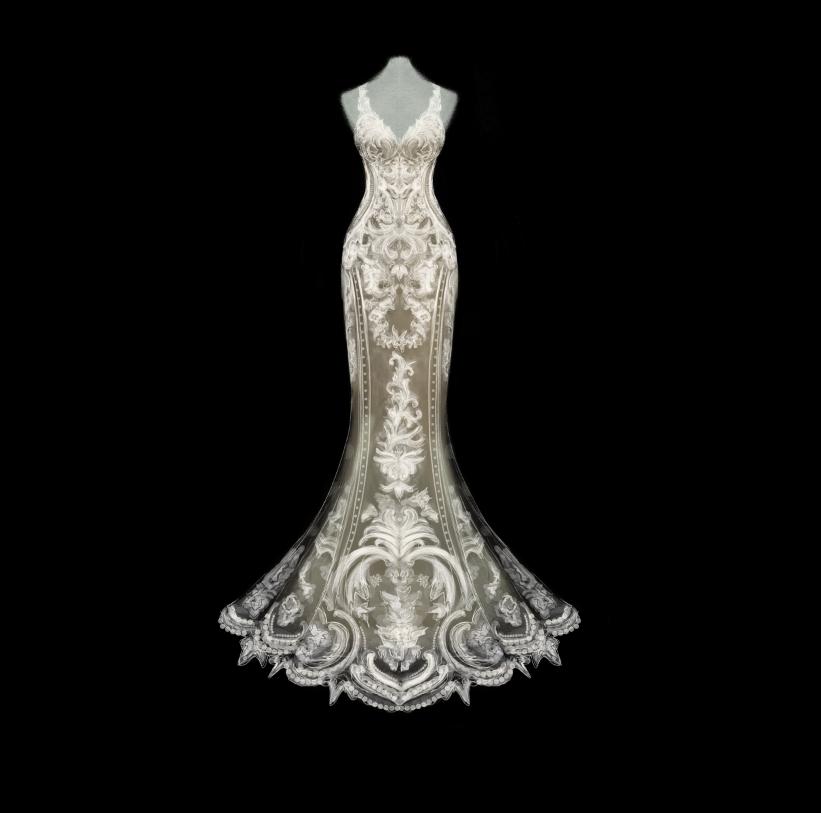 Custom Wedding Dress Illustration #1