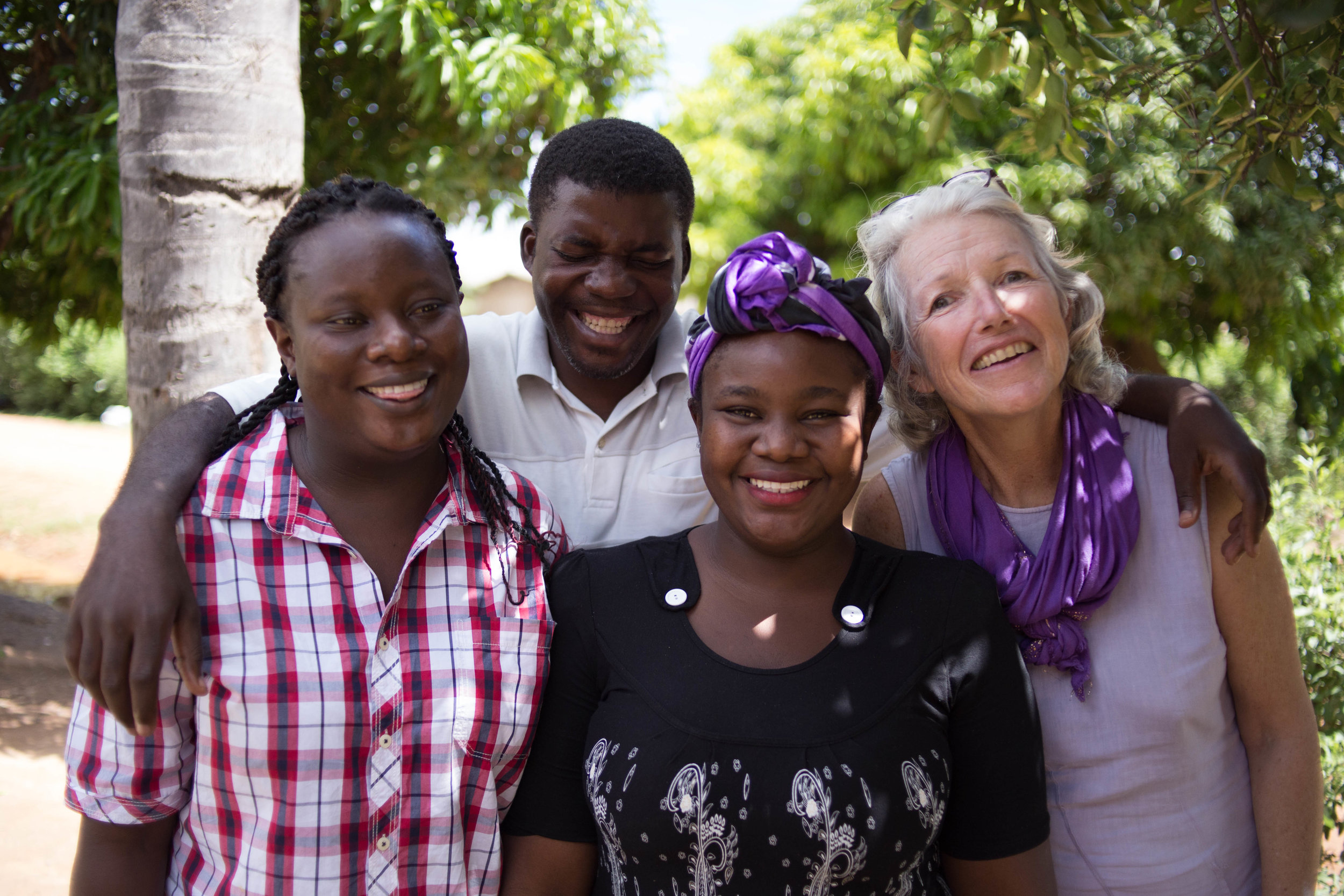 Members of the local Zambian team with volunteer Isabelle Queyroux who focused on curriculum development training.