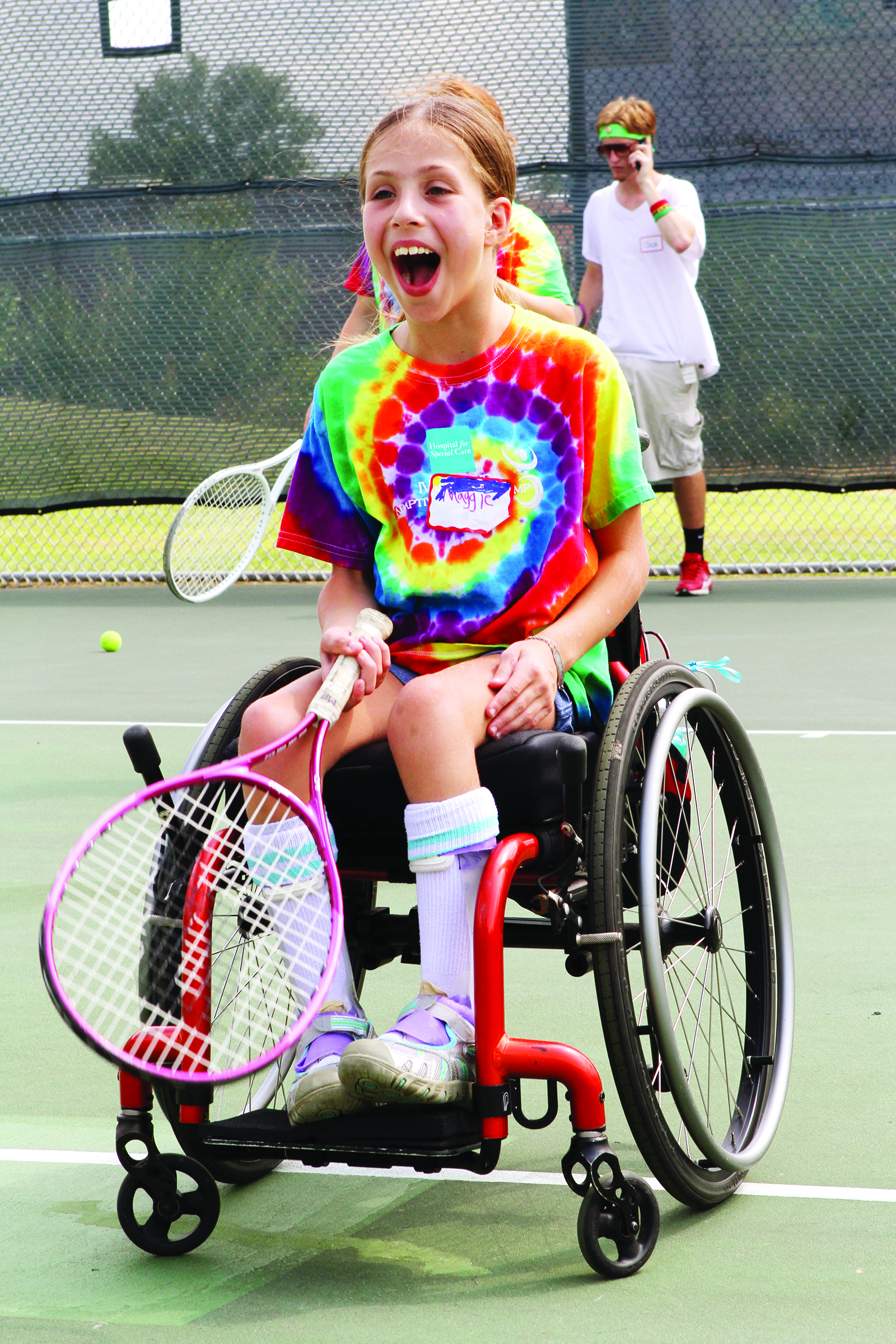 Maggie aces it at the Ivan Lendl Adaptive Sports Camp    Photo: Mark Maglio