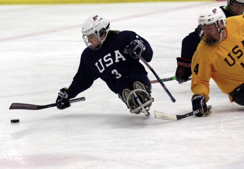 """""""I have been playing sled hockey since I was six and this season will be my second season on the USA Women's National Sled Hockey Team.""""  - Catherine Faherty"""