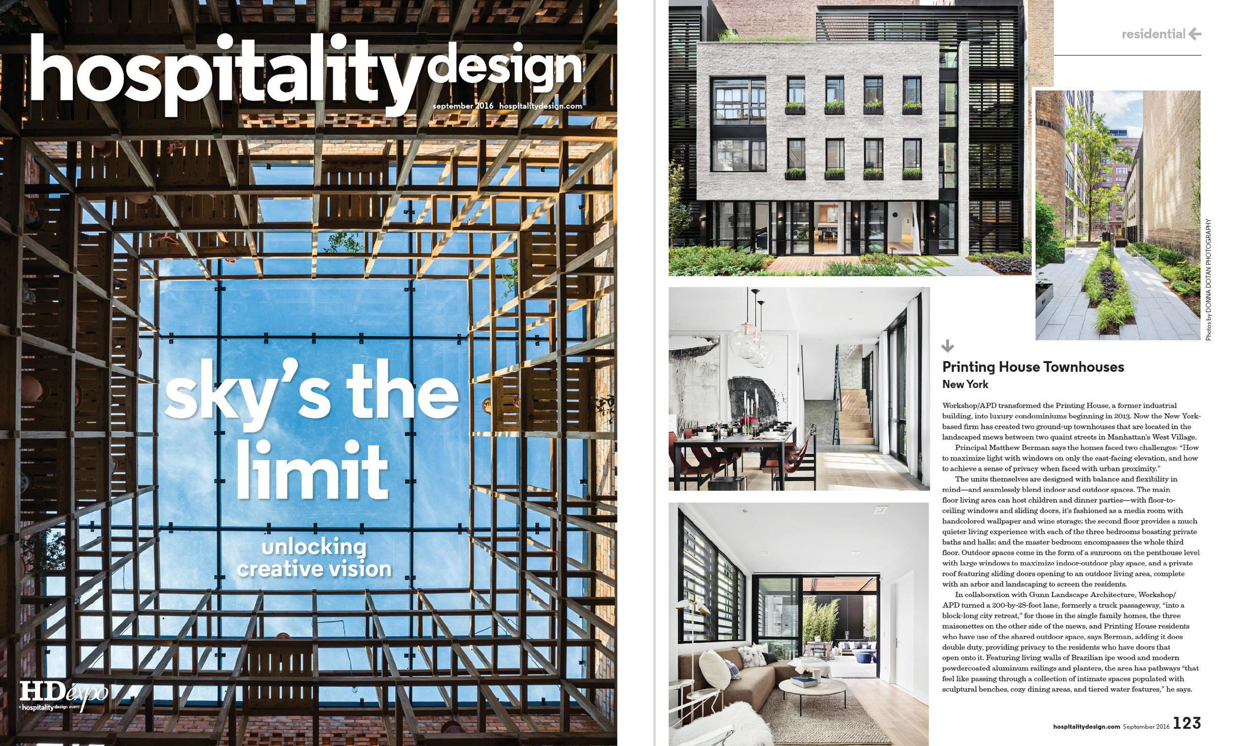 Hospitality Design - September 2016