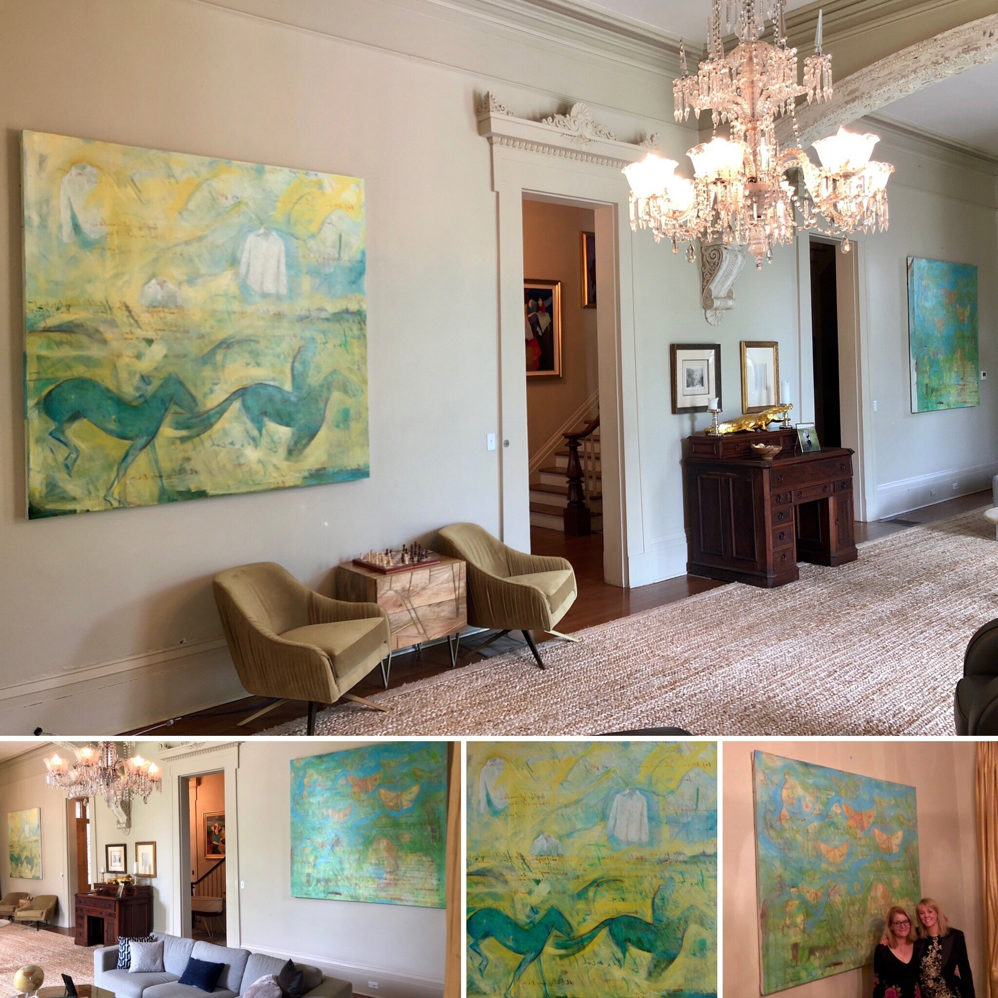 Large oil painting on canvas diptych created  for this beautiful main entertaining room in a Garden District home.   Fun fact: you can still see me working on the under-paintings for these in the video montage held in the House & Home exhibition at the National Building Museum in Washington D.C.   Oil paint and oil crayon on canvas, 8'x8' each.
