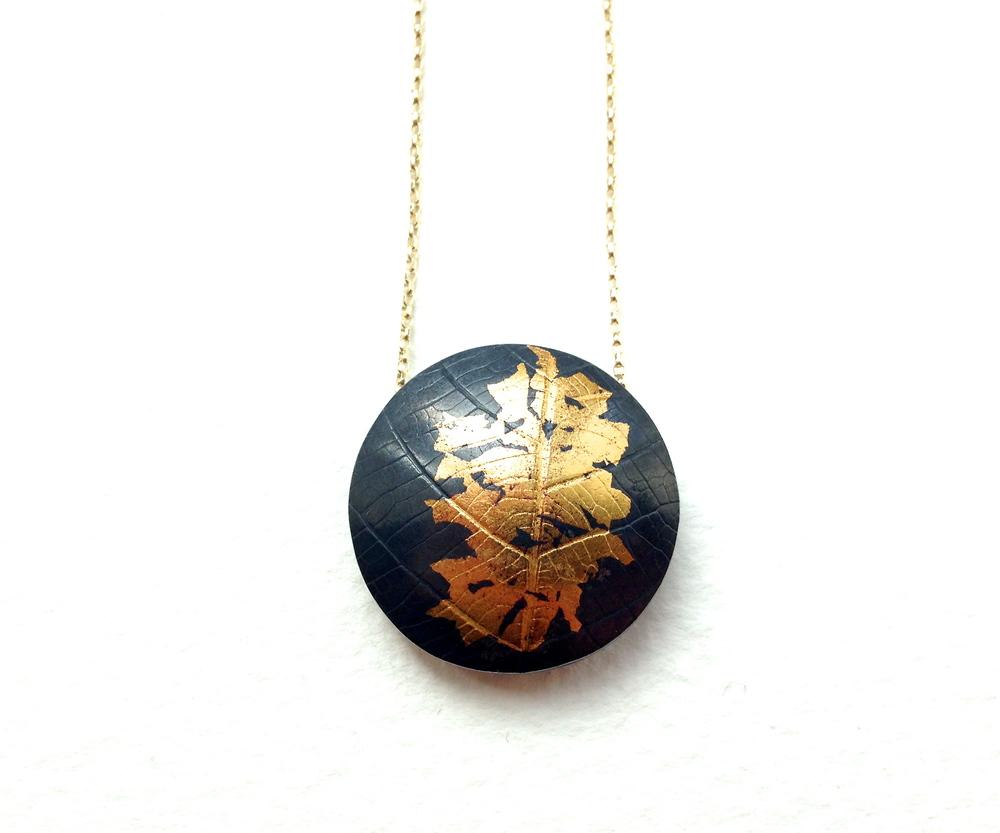 Oxidised silver and gold Keum Boo pendant Pendant necklace Statement pendant. Round pendant