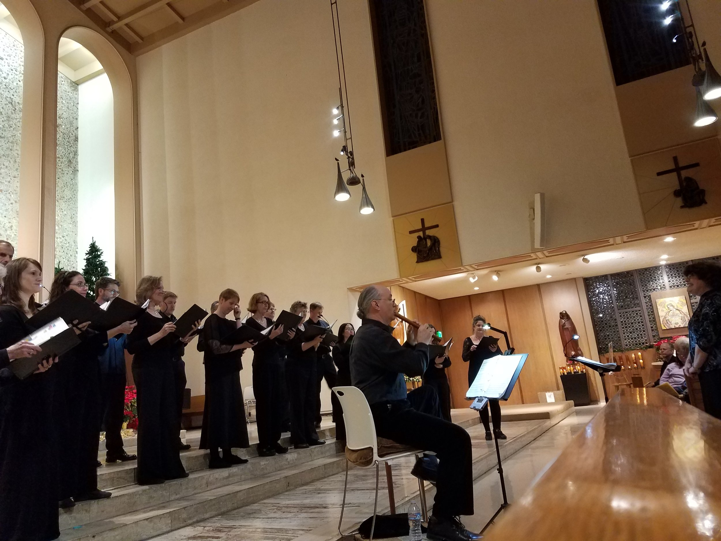 Jouyssance performing their first concert at St. Paul the Apostle Catholic Church in Westwood. Bruce Teter accompanies on recorder.