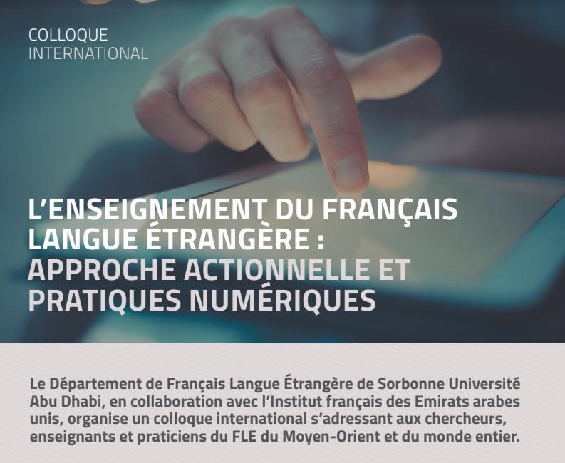 Sorbonne Abu Dhabi - Colloque international Approche actionnelle et pratiques numériquesCommunication:Inspirer, rassurer, « challenger » ; le numérique au service d'une expérienceémotionnelle et sensorielle de l'apprentissage des langues