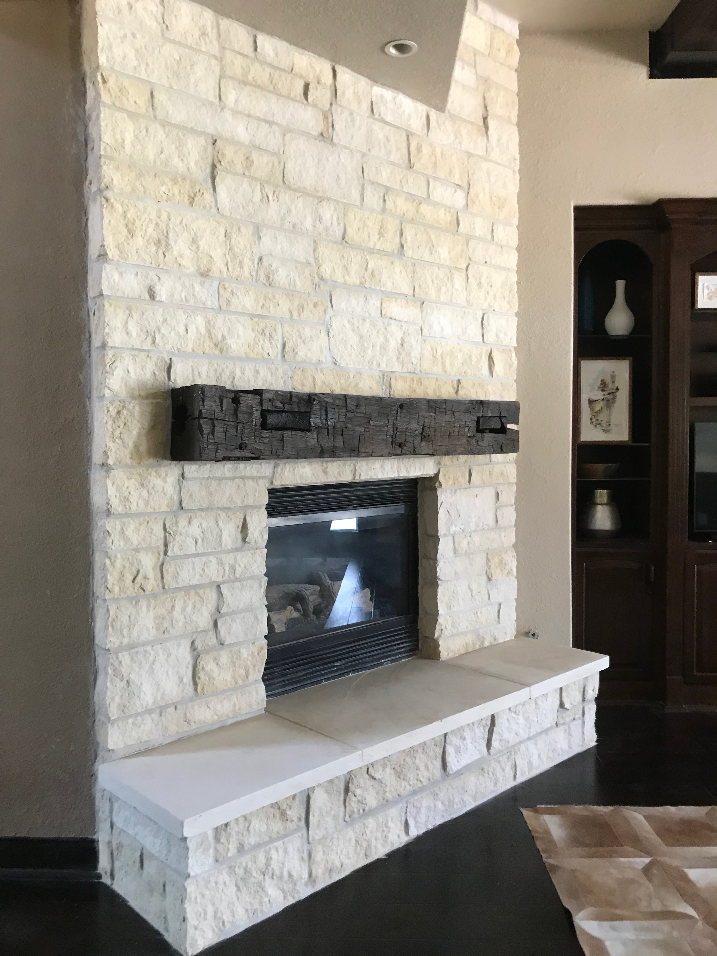 Stone Fireplace, Hearth, & Wood Mantle in Spring, TX