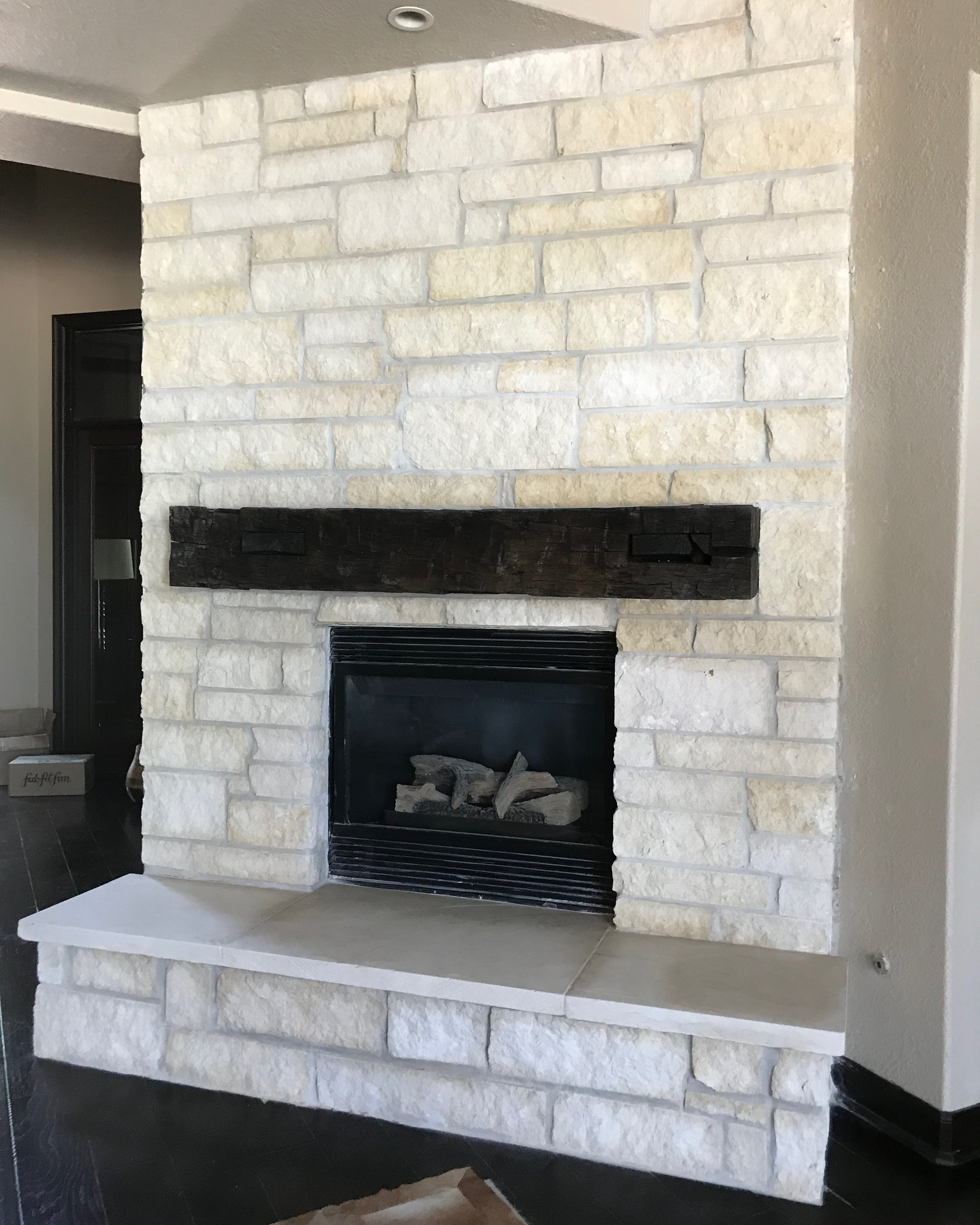 Stone Fireplace, Hearth, & Wood Mantle is Spring, TX