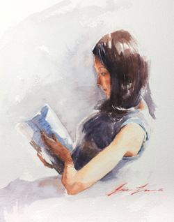 Afternoon Read, 2015, watercolor