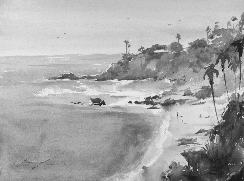 A black and white beach painting, you can still identify the foreground foliage and palm trees. Although is not a misty scenery, the lower contrast of the distance land still push it back.