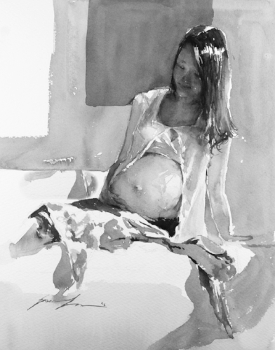 Now the same painting in black and white, you can still read clearly of her round belly, folds of her cloth, and subtle form of her face. (now looking at it black and white, I actually really like it) :)