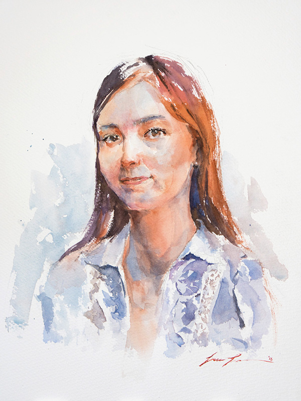 I really like this portrait of Anastasia, mainly because of the brush stroke I was able to pull off and the warm and cool colors. But it's the value that keep you from lost in the color and show the form of her face.