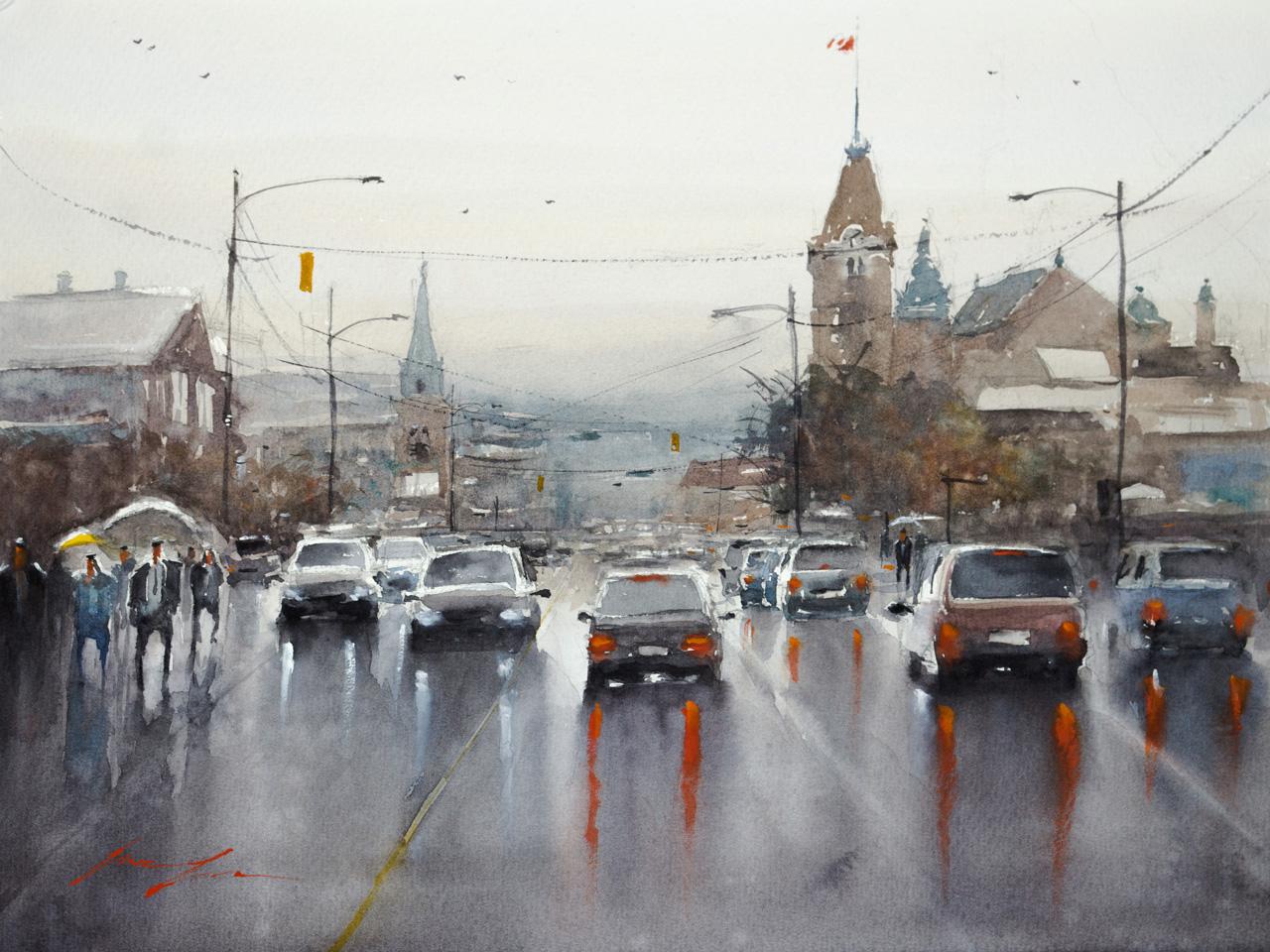 Rainy Day in Vancouver, 12X16