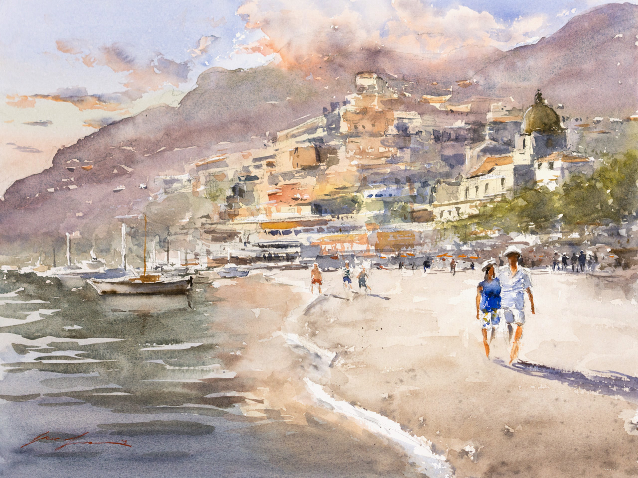 Positano, Italy - 12x16 commission peice