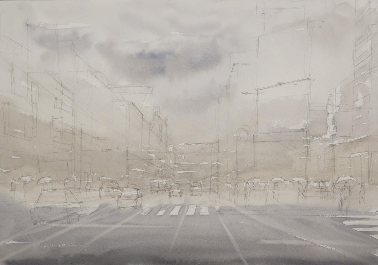 beginning of the painting Shibuya, Tokyo