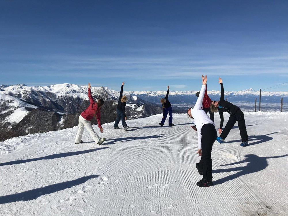 Yoga in de sneeuw