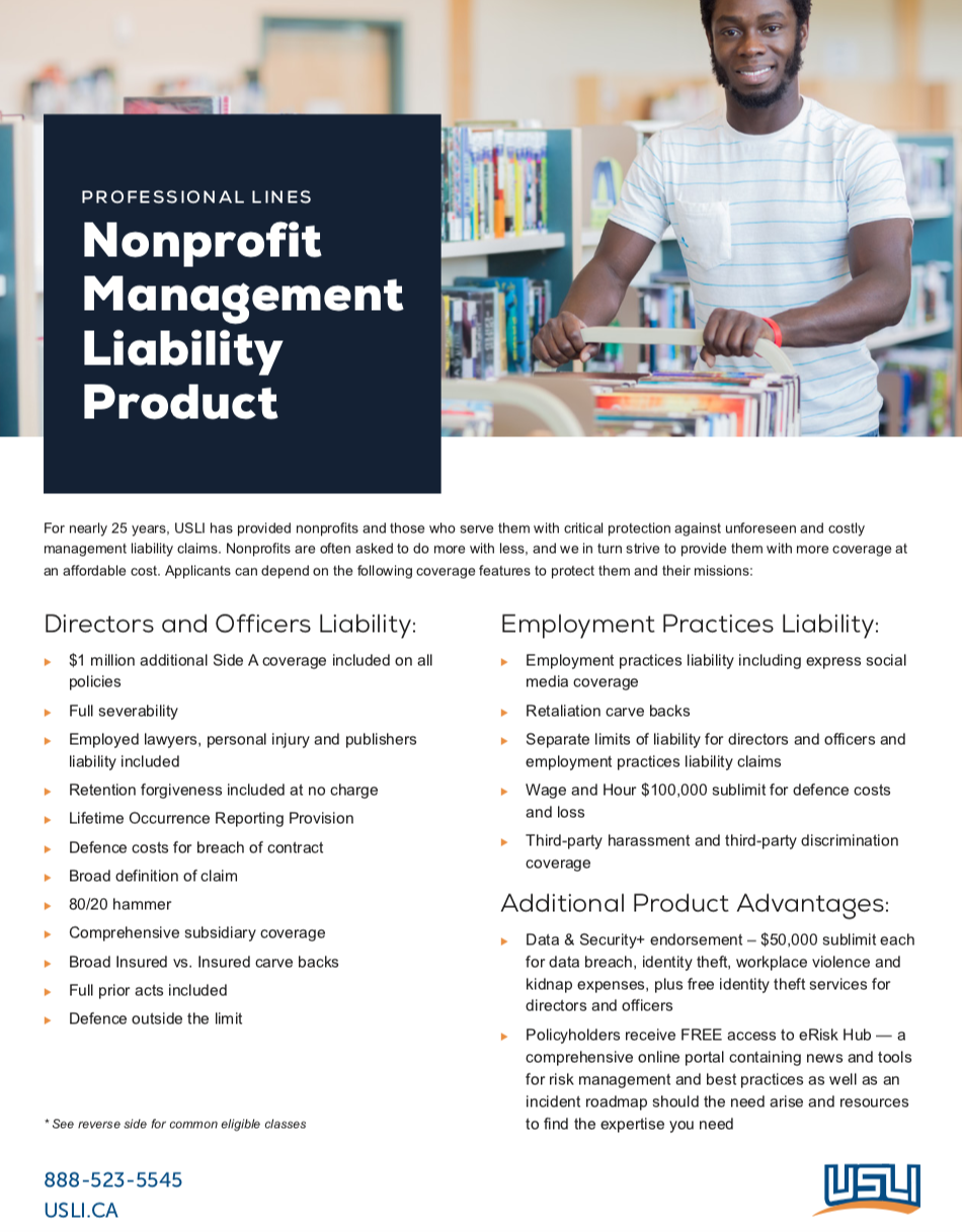 Nonprofit Management Liability Product Marketing Sheet - Canada Rebrand