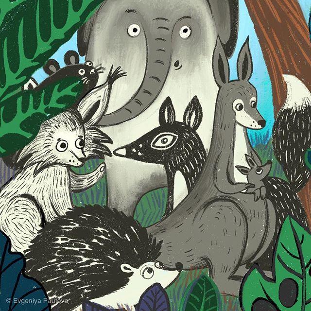 Пару месяцев назад я рисовала на заказ иллюстрацию к сказке про то, как все животные когда-то были черно-белыми, а панды, наоборот, цветными. Это ее фрагмент. Я больше всех здесь люблю лису. A couple of momths ago I've drawn an illustration for the fairytail about the times when all the animals were black and white and pandas were all colorful. This is just a piece of it. I like the fox most of all.:) #wow_illustration #wowyellow_books #wowyellow_art #evgeniyapautova