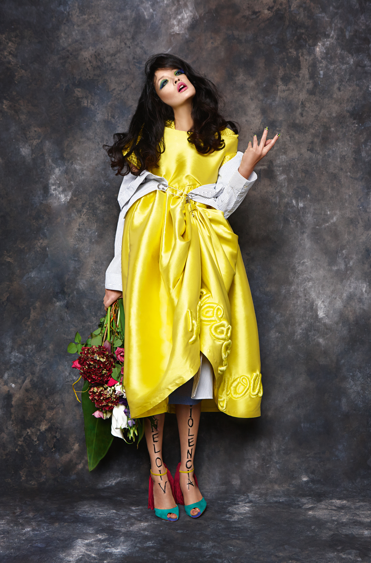 Yellow dress,  Fyodor Golan.  Striped shirt,  BACK.  Striped pencil skirt,  BACK.  Blue floral shirt,  Zeynep Tosun.  Shoes w/pink tassels,  Christian Louboutin.