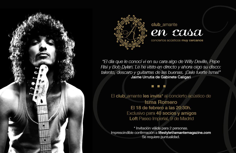 El  18 de febrero  concierto acústico en nuestro loft para socios del  club_ amante.