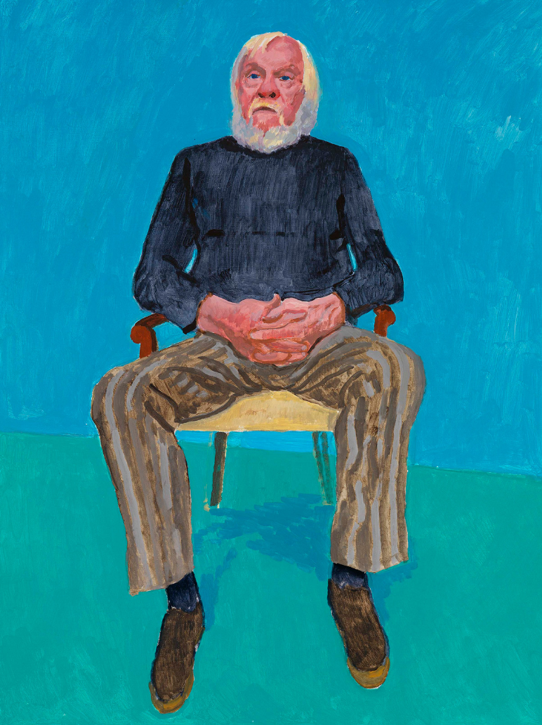 David Hockney RA, John Baldessari, 13th, 16th December, 2013. Acrylic on canvas. 121.9 x 91.4 cm. © David Hockney Photo credit: Richard Schmidt.
