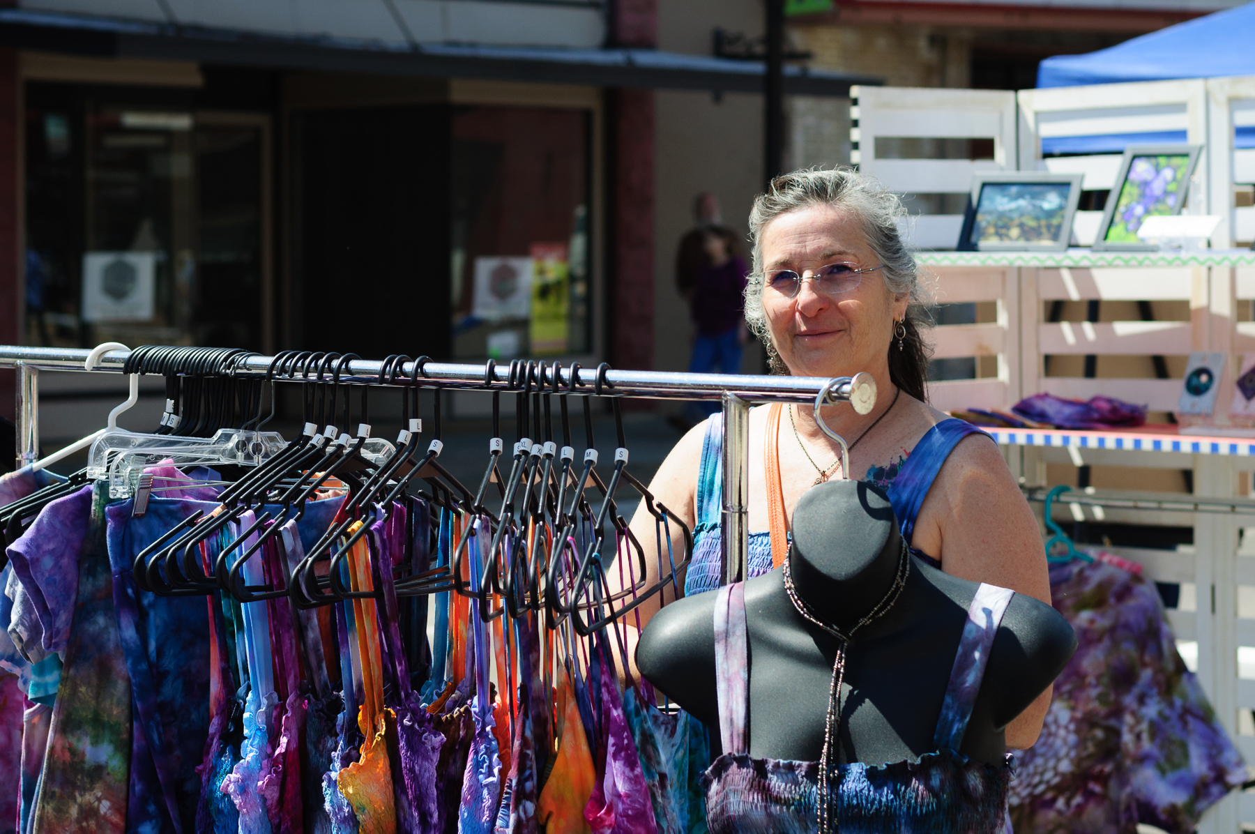 Among the rows of vendors was Cat Adair selling her garments.  Her genuine enthusiasm for people beamed as she welcomed you.