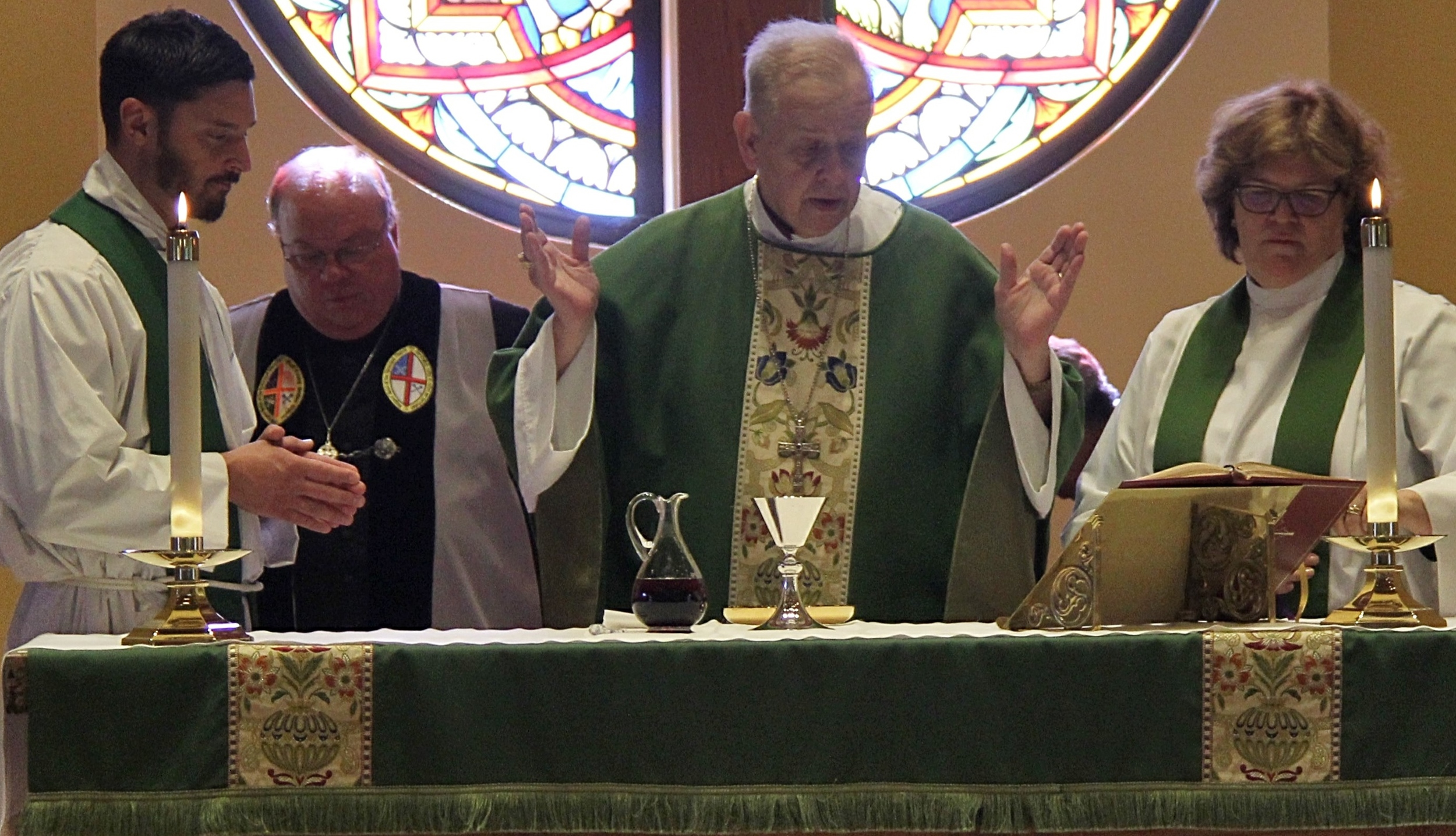 The Rev. Thompson, Verger and meeting host, David Neville, The Bishop and The Rev. Weston