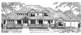 SOMERSET 3695B   3695 Square Feet  4 Bedrooms – 3.5 Baths  106' Wide – 51' Deep  Covered porch with separate entrance to mud room, loft
