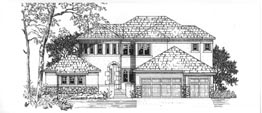 RAMSGATE 3601   3601 Square Feet  4 Bedrooms - 4.5 Baths  67' Wide – 78' Deep  Tower entry, circular stair, courtyard, covered deck area, loft
