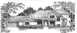 WESSEX 3470   3470 Square Feet  4 Bedrooms – 3.5 Baths  108' Wide – 69' Deep  Covered porch and rear deck, oversized 4 car garage