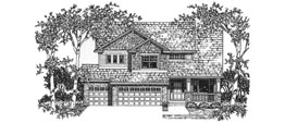 BRIGHTON 2916   2916 Square Feet  4 Bedrooms - 3.5 Baths  49' Wide - 58' Deep  Compact and economical plan with living room, alternate elevation