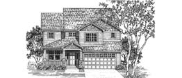LYNLEY 2566B   2566 Square Feet  3 Bedrooms - 2.5 Baths  39' Wide - 59' Deep  Narrow plan with front facing garage, tandem garage for third car