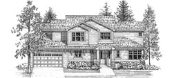 ARAPAHOE 2528   2528 Square Feet  3 Bedrooms - 2.5 Baths  64' Wide - 41' Deep  Three car garage option and alternate elevation available