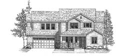 CHELSEA 2403   2403 Square Feet  3 Bedrooms - 2.5 Baths  56' Wide - 48' Deep  Open plan with dramatic U-shaped stair, large master suite