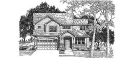 MARKHAM 1800   1800 Square Feet  3 Bedrooms - 2.5 Baths  40' Wide - 48' Deep  Option for fourth bedroom, alternate elevation