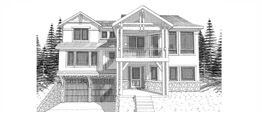 BIRCHWOOD 2028   2028 Square Feet  3 Bedrooms - 2.5 Bath  54' Wide - 51' Deep  Split level home plan for steep uphill lot