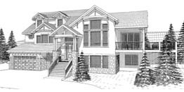 BROWNLEY 2289   2289 Square Feet  3 Bedrooms - 2.5 Baths  45' Wide - 38' Deep  Main Floor Master Plan for uphill lot