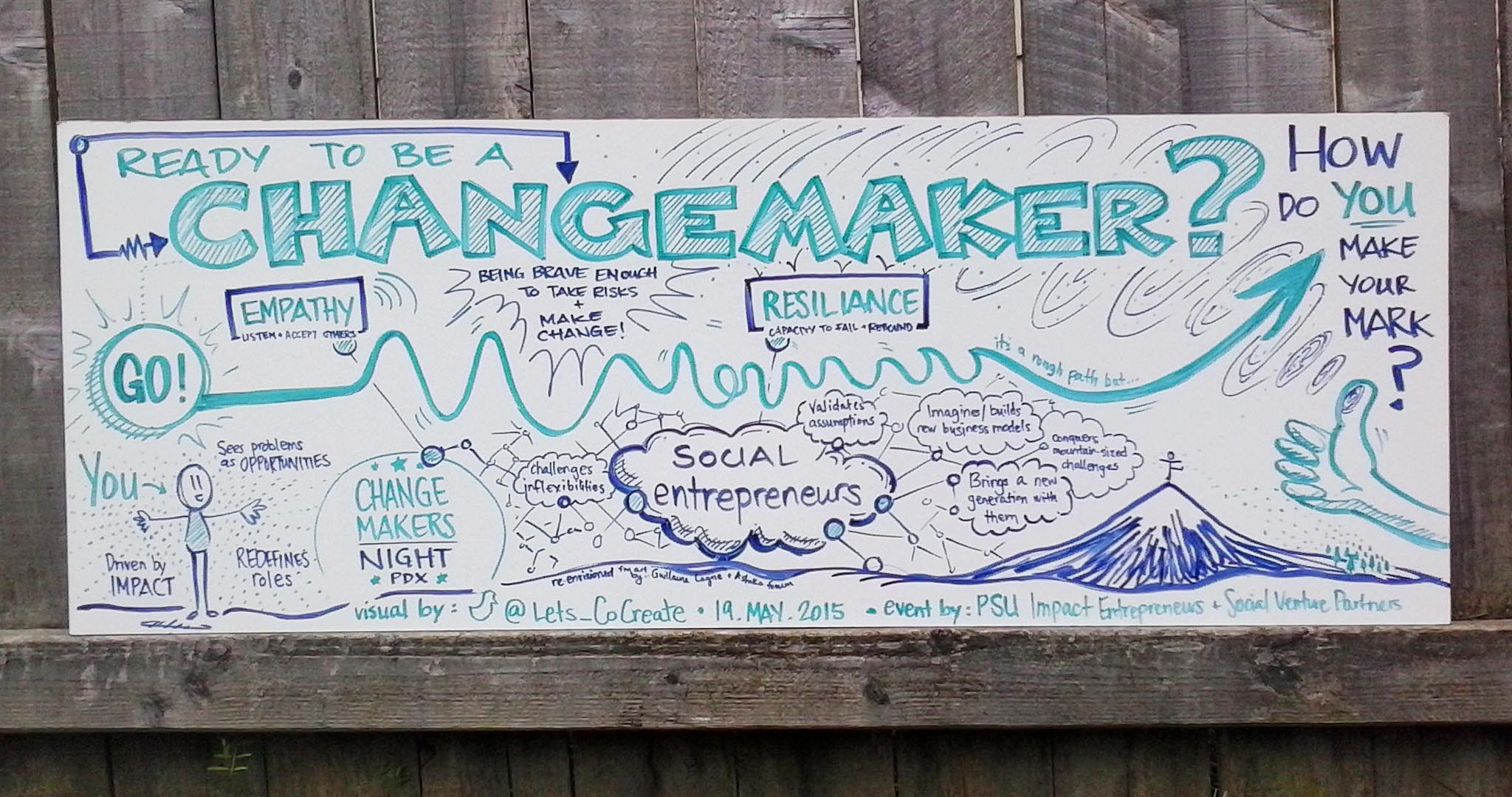Graphic recording for Changemakers Night with Impact Entrepreneurs